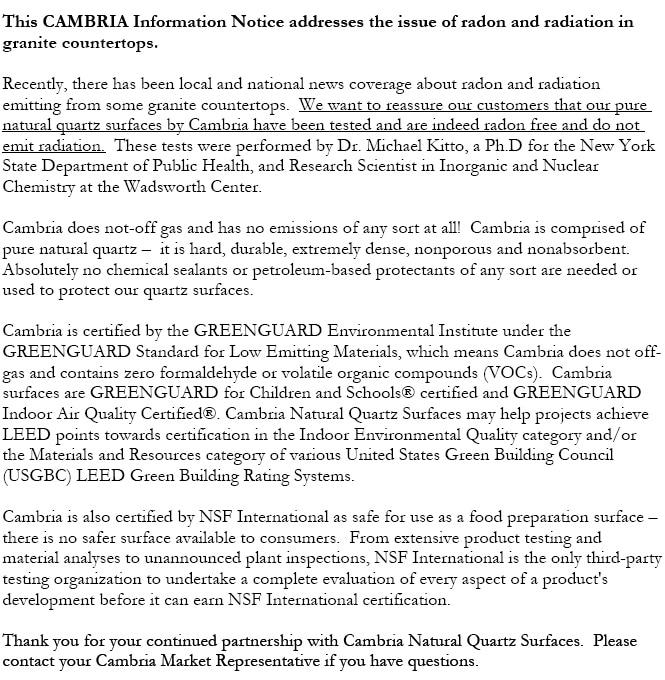 Cambria: Radon